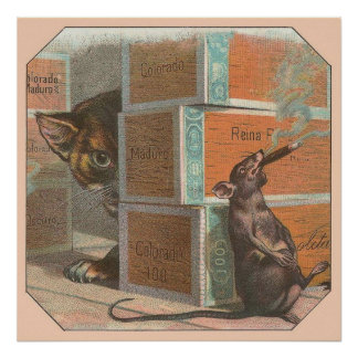 Vintage Animal Themed Labels - Cat & Mouse Poster
