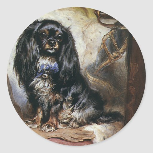 Vintage Animals, Black Toy Spaniel Pet Dog Stickers