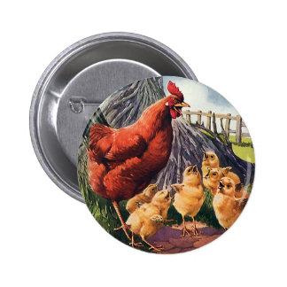 Vintage Animals, Chicken with Baby Chicks on Farm 6 Cm Round Badge
