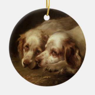 Vintage Animals, Cute Pet Spaniel Puppy Dogs Round Ceramic Decoration