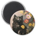 Vintage Animals, Cute Victorian Kitten and Flowers 6 Cm Round Magnet