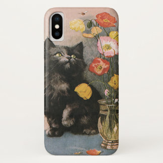 Vintage Animals, Cute Victorian Kitten and Flowers iPhone X Case