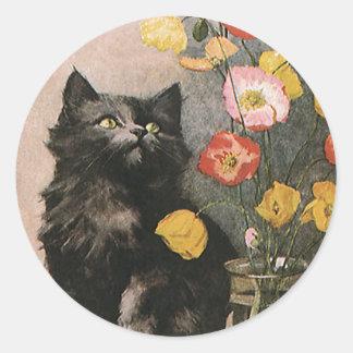 Vintage Animals, Cute Victorian Kitten and Flowers Round Sticker