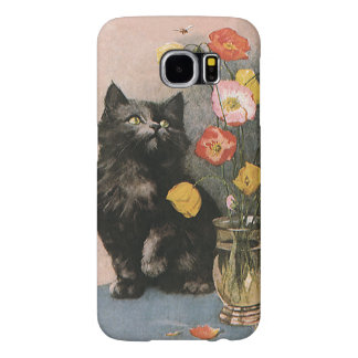 Vintage Animals, Cute Victorian Kitten and Flowers Samsung Galaxy S6 Cases