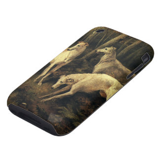 Vintage Animals, Greyhound Dogs in the Forest Tough iPhone 3 Cases