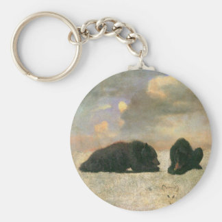 Vintage Animals, Grizzly Bears by Albert Bierstadt Basic Round Button Key Ring