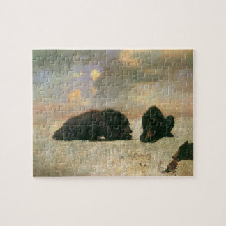 Vintage Animals, Grizzly Bears by Albert Bierstadt Jigsaw Puzzle