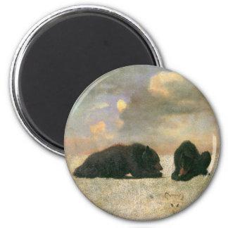 Vintage Animals, Grizzly Bears by Albert Bierstadt 6 Cm Round Magnet
