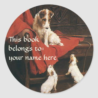 Vintage Animals Jack Russel Terrier Dogs Bookplate Stickers