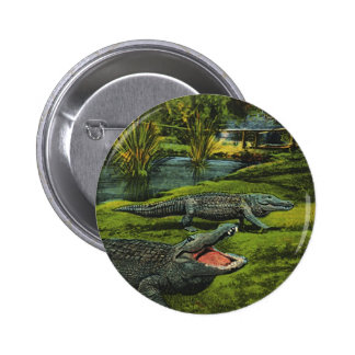 Vintage Animals, Marine Life Reptiles, Crocodiles 6 Cm Round Badge