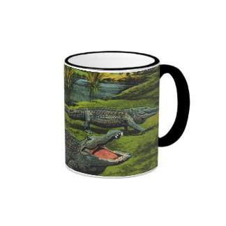 Vintage Animals, Marine Life Reptiles, Crocodiles Ringer Mug