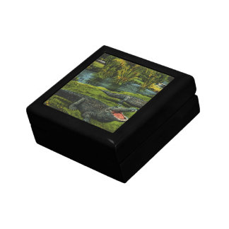Vintage Animals, Marine Life Reptiles, Crocodiles Small Square Gift Box