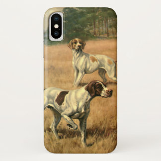 Vintage Animals, Pointer Dogs Hunting in a Field iPhone X Case