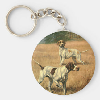 Vintage Animals, Pointer Dogs Hunting in a Field Key Ring