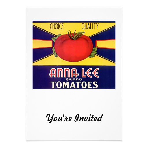 Vintage Anna Lee Brand Tomatoes Label Custom Announcements