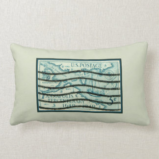 Vintage Annapolis Tercentenary Maryland Postage Pillow