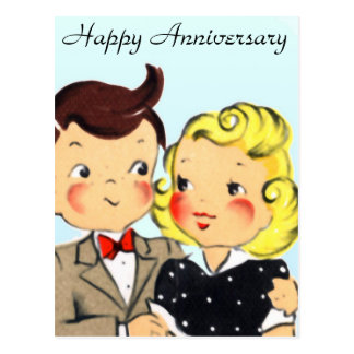 Vintage Anniversary Couple Postcard