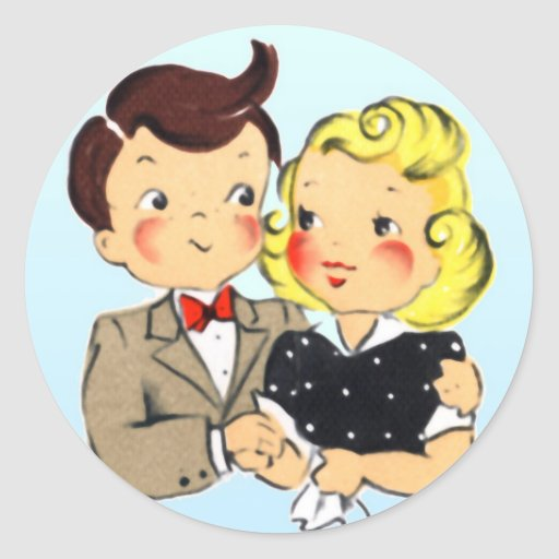 Vintage Anniversary Couple Round Sticker