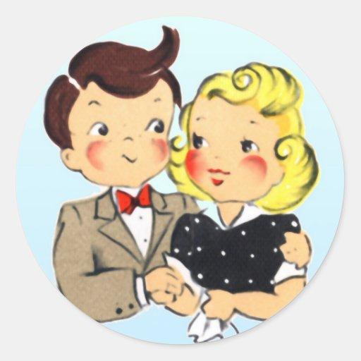 Vintage Anniversary Couple Round Stickers