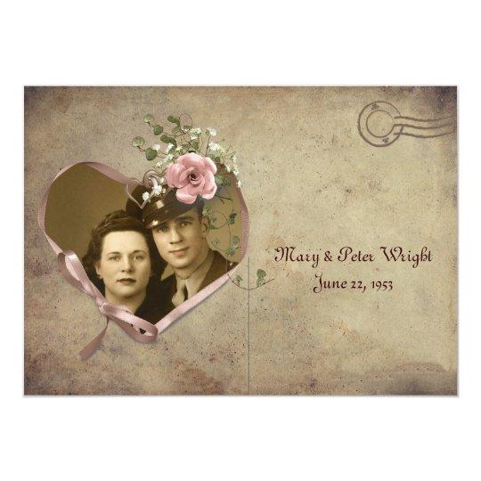 Vintage Anniversary Postcard Open House Invitation