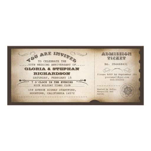 vintage anniversary ticket typography design personalized invitations
