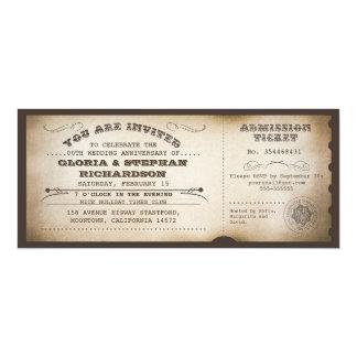 vintage anniversary ticket typography design 10 cm x 24 cm invitation card