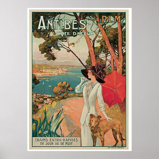 Vintage Antibes Cote d'Azur Poster