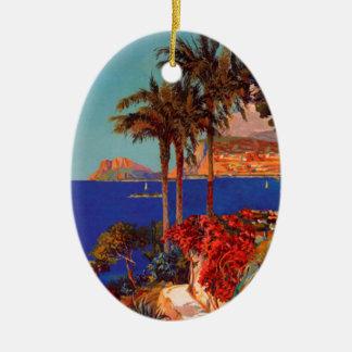 Vintage Antibes Cote D'Azur Travel Ceramic Oval Decoration