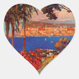 Vintage Antibes Cote D'Azur Travel Heart Sticker
