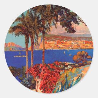 Vintage Antibes Cote D'Azur Travel Round Sticker