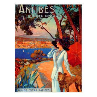 Vintage Antibes Cote D'Azur Woman & Dog Postcard