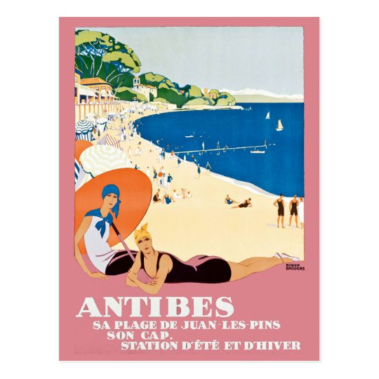 Vintage Antibes France Beach Vacation Travel Postcard