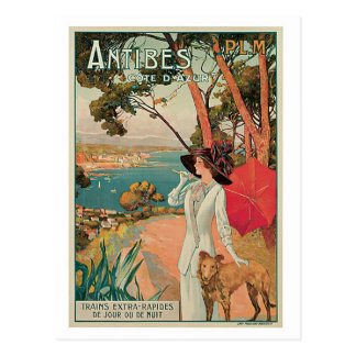 Vintage Antibes France travel ad Postcard