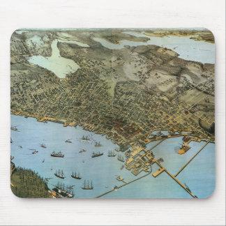 Vintage Antique Aeria Map of Seattle, Washington Mousepads