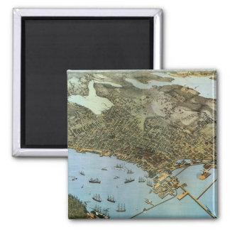 Vintage Antique Aeria Map of Seattle, Washington Square Magnet