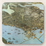 Vintage Antique Aerial Map of Seattle, Washington Coasters
