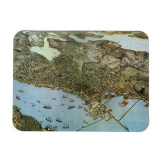 Vintage Antique Aerial Map of Seattle, Washington Vinyl Magnets