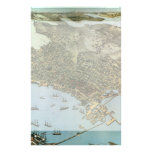 Vintage Antique Aerial Map of Seattle, Washington Personalized Stationery