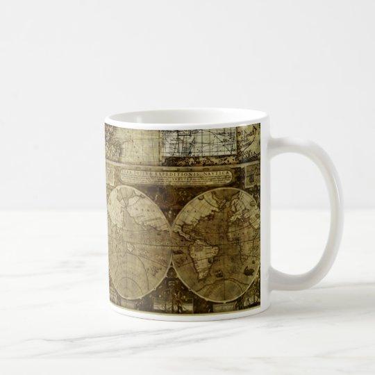 Vintage antique and rustic, world Maps Coffee Mug
