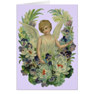 Vintage Antique angel Bouquet Flowers Card