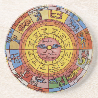 Vintage Antique Astrology, Celestial Zodiac Wheel Drink Coasters