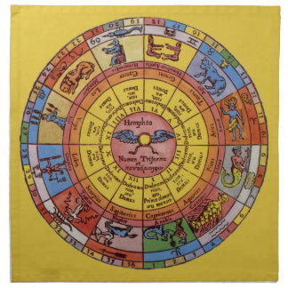 Vintage Antique Astrology, Celestial Zodiac Wheel Napkin