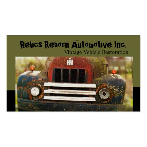 Vintage Antique Automobile Restoration Business Cards