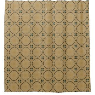 Vintage Antique Beige Geometric Shower Curtain