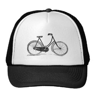 Vintage Antique Bicycle Silhouette Illustration Trucker Hats