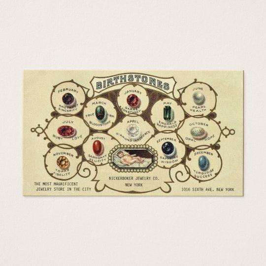 Vintage Antique Birthstones Jewellery Jeweller Business Card