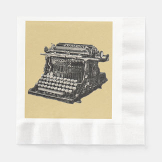 Vintage Antique Black Old Fashioned Typewriter Disposable Napkin