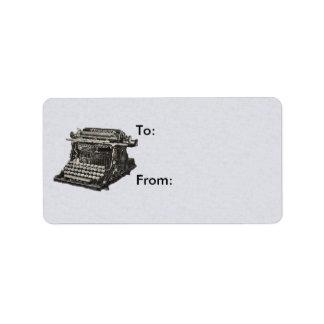 Vintage Antique Black Old Fashioned Typewriter Label