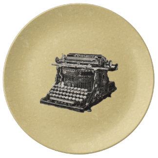 Vintage Antique Black Old Fashioned Typewriter Porcelain Plates