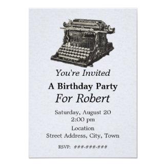 Vintage Antique Black Old Typewriter Birthday 11 Cm X 16 Cm Invitation Card